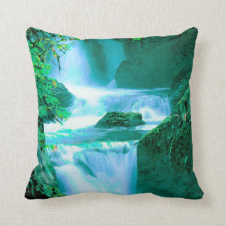 Serene Waterfall in Blue and Green Throw Pillow