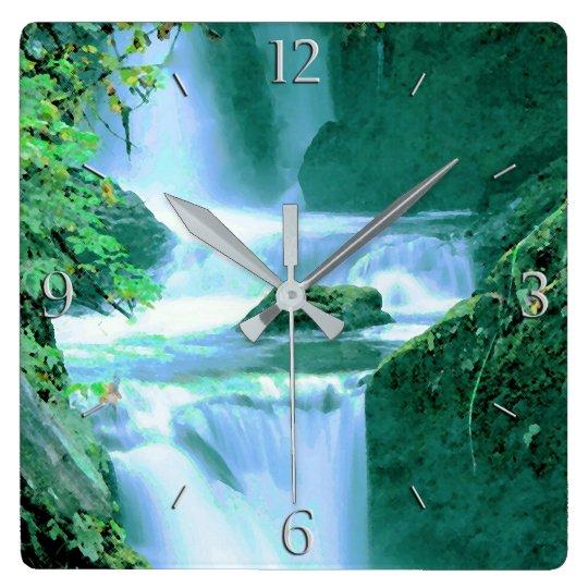 Serene Waterfall in Blue and Green Wallclocks