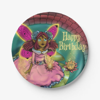 """Serenity Birthday Paper Plates 7"""", Fairy 7 Inch Paper Plate"""