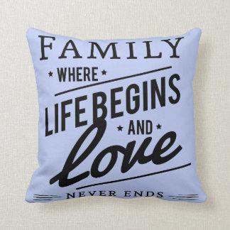 Serenity Blue  Throw pillow Family love