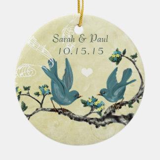 Serenity Blue Vintage Love Birds Christmas Ceramic Ornament