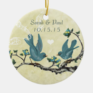 Serenity Blue Vintage Love Birds Christmas Round Ceramic Ornament