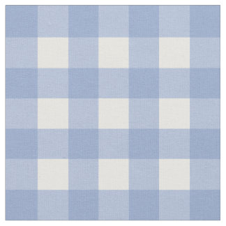 Serenity Blue & White Gingham Check Fabric
