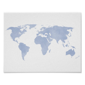 Serenity Blue World Map Poster