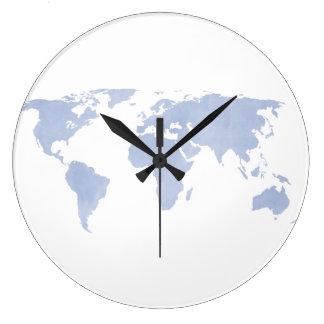 Serenity Blue World map wall clock
