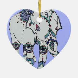 Serenity Boho Elephant Ceramic Ornament
