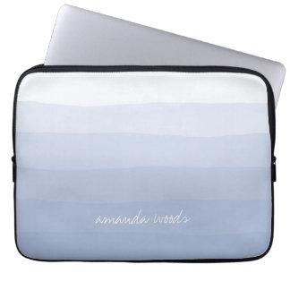 Serenity Lavender Watercolor Dipdye Ombre Stripe Laptop Sleeve