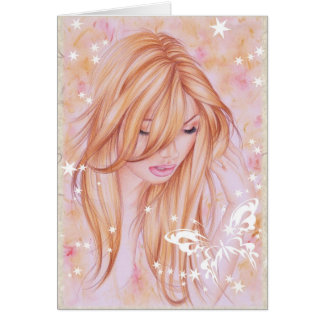 """Serenity"" ~ Note Card Female & butterfly motif"
