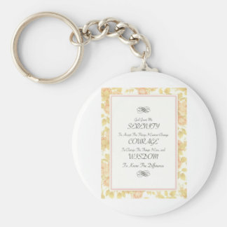 Serenity Poem with Rose Border Keychain