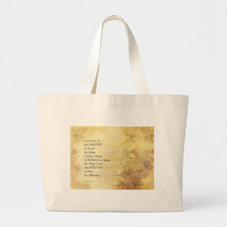 Serenity Prayer Abstract Sunflower Large Tote Bag