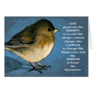 SERENITY PRAYER AND JUNCO ARTWORK CARD