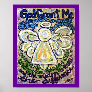 Serenity Prayer Angel Painting Art Poster (Small)