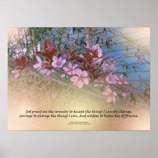Serenity Prayer Blossoms Blue House Poster