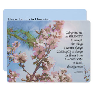 Serenity Prayer Blossoms Sky Tree Card