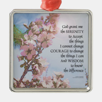 Serenity Prayer Blossoms Sky Tree Metal Ornament