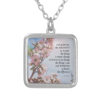 Serenity Prayer Blossoms Sky Tree Silver Plated Necklace