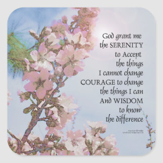 Serenity Prayer Blossoms Sky Tree Square Sticker