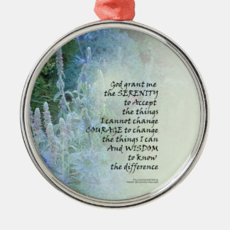 Serenity Prayer Blue Cone Flowers Silver-Colored Round Ornament