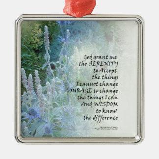 Serenity Prayer Blue Cone Flowers Silver-Colored Square Ornament