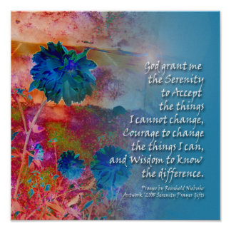 Serenity Prayer Blue Flowers Poster