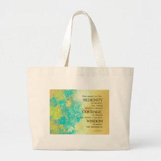 Serenity Prayer Blue Gold Flowers Large Tote Bag
