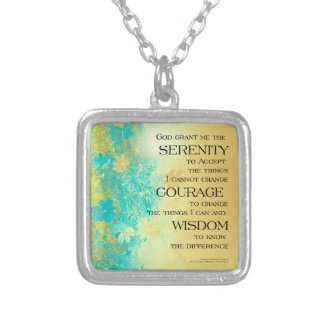 Serenity Prayer Blue Gold Flowers Silver Plated Necklace