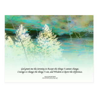 Serenity Prayer Blue Green Postcard