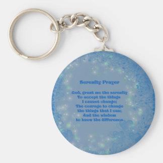 Serenity Prayer Blue Hearts Inspirational Keychain