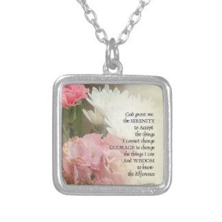 Serenity Prayer Bouquet Silver Plated Necklace