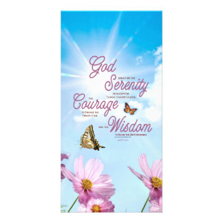 Serenity Prayer: Butterflies, Pink Flowers, Streng Photo Greeting Card