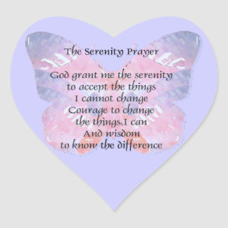 Serenity Prayer Butterfly 2 Heart Sticker