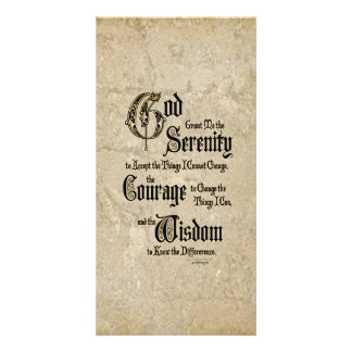 Serenity Prayer: Calligraphy, Antique, Recovery Photo Greeting Card