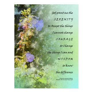 Serenity Prayer Campanula Bellflowers Postcard
