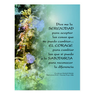 Serenity Prayer Campanulas Spanish Postcard
