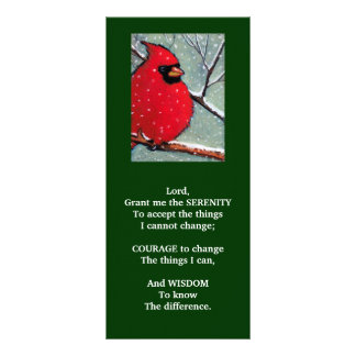 SERENITY PRAYER: CARDINAL, WINTER, BIRD ART PERSONALIZED RACK CARD