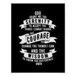 Serenity Prayer - Choose Your Background Colour Poster