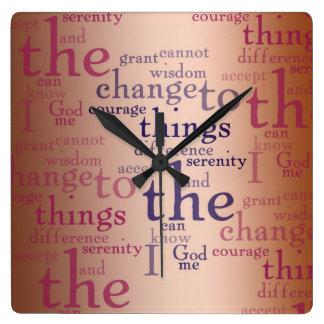 Serenity Prayer Collage Square Wall Clock
