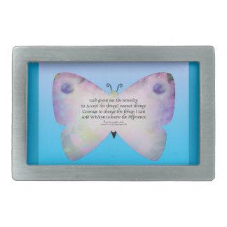 Serenity Prayer Colorful Butterfly on Blue Rectangular Belt Buckles