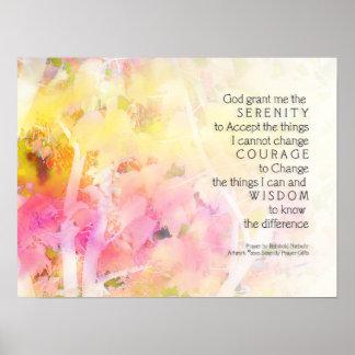 Serenity Prayer Colorful Leaves Print