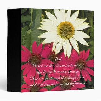 Serenity Prayer Coneflowers Floral Vinyl Binders