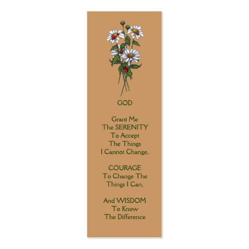 SERENITY PRAYER: Daisies With Ladybugs Business Card