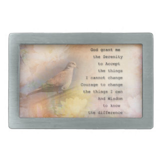 Serenity Prayer Dove and Flowers Belt Buckles