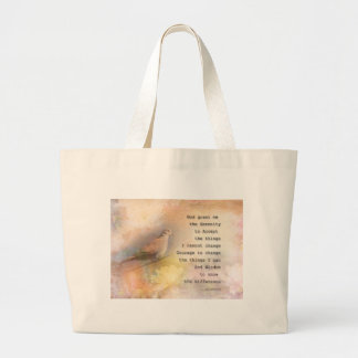 Serenity Prayer Dove and Flowers Large Tote Bag