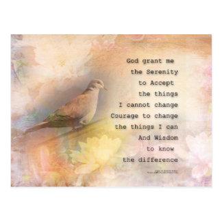 Serenity Prayer Dove and Flowers Postcard