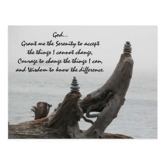Serenity Prayer Driftwood and Rock Cairns Photo Postcard