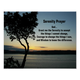 Serenity Prayer Evening Sunset Photo Poster