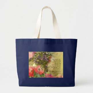 Serenity Prayer Floral Collage Large Tote Bag