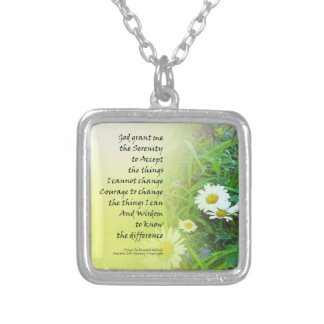 Serenity Prayer Flower Garden Silver Plated Necklace