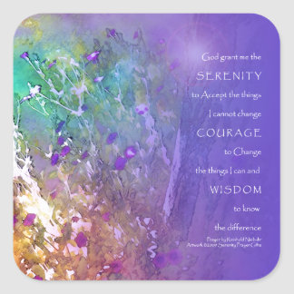 Serenity Prayer Flowers and Tree Square Sticker