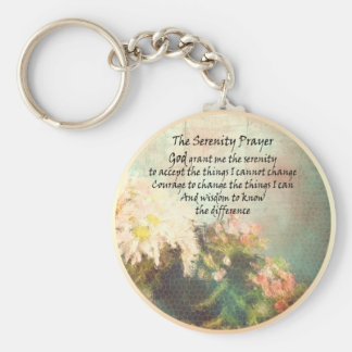 Serenity Prayer Flowers Keychain